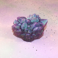 Fairy Quartz Faux Crystal Gemstone // Pastel Purple Collectable Crystal Home Decor // Unique One of a Kind Handmade Resin Faux Crystal