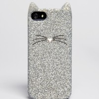 kate spade new york iPhone 5/5s Case - Glitter Cat Silicone | Bloomingdales's