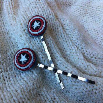 Captain America Hair Pins, Fabric Button Bobby Pins, Superhero Hair Pins, Cosplay, Comic Con Accessories