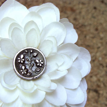 "Ivory Hair Flower, Wedding Dahlia Clip, Bridal Hair Accessory, Antique Silver Glass Button, Floral Fascinator, Vintage - ""Silver Gardens"""
