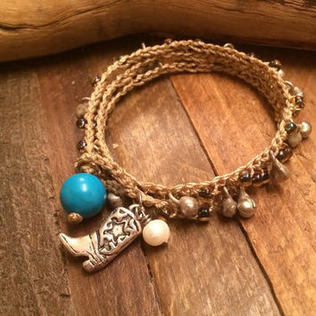 Cowgirl Up - Country Chic / Boho Chic, Cowgirl Jewelry, Crochet Beaded Wrap Bracelet, Silver Boot Charm, Fresh Water Pearl