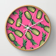 Pineapple Pattern Wall Clock by Georgiana Paraschiv