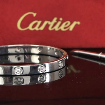 $15600 Rare Cartier #17 18K White Gold 10 Diamond LOVE Bangle Bracelet Box Paper