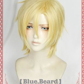 Anime BANANA FISH Aslan Jade Callenreese Cosplay Costume Short Blonde Yellow Halloween Christmas Party Hair