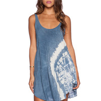 Baby Doll Tank Dress in Denim Tie Dye