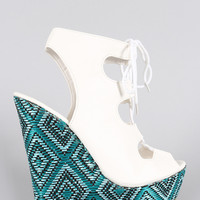Alluring Tribal Embroidered Caged Wedge