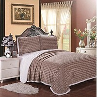 Luxurious Home Ultra Soft Reversible King Blanket with Sherpa Lining - Mocha