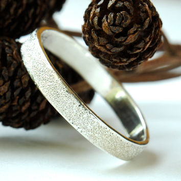 Pave Finish Sterling Silver Wedding Ring