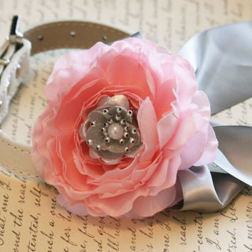 Pink Peony Floral Collar, Pet Wedding Accessory, Pink and Silver wedding, Dog Lovers