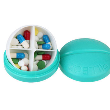 Portable Round Pill Case Organizer Tablet Medicine Box Drugs Container Storage 4 Compartments Mini Size Light Blue