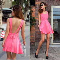 Pink Women Charming Open Back Tie Elegant Sexy Stretchy Pure Dress X220 S M L XL