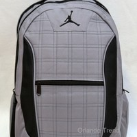 "Nike Air Jordan Backpack 15"" Laptop Jumpman Black Gray Bag Men Women School Boys"