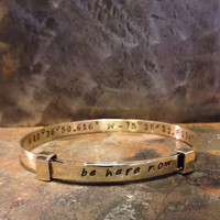 latitude bracelet, latitude longitude, Bracelet, Bangle, Jewelry, House of Metalworks, Custom Jewelry, Handstamped Bracelet, Friend Gift