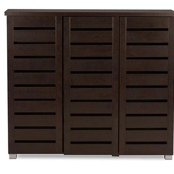 Baxton Studio Adalwin Modern and Contemporary 3-Door Dark Brown Wooden Entryway Shoes Storage Cabinet  Set of 1