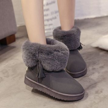 Hot Deal On Sale Winter Ladies Matte Tassels Round-toe Anti-skid Cotton Shoes Boots [47583920135]