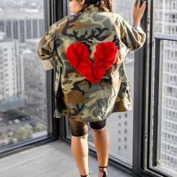 New Army Green Camouflage Broken Heart Pattern Pockets Turndown Collar Casual Trench Coat