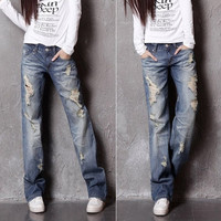 2014 spring new European and American big yards straight jeans waist jeans women washing hole = 1929772420