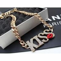 Kiss Gold Pleated Chain Women Necklace