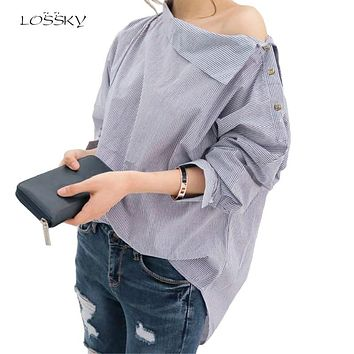 Women Striped Blouses Sexy Long Sleeve Shirts Off Shoulder Top Blouse Fashion Shirt Female Womens Tops And Blouses