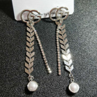 GUCCI New Fashion Pearl More Diamond Round Long Section Earrings Accessories Women Silver