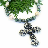 Earth Cross Handmade Necklace, Sun Dove Flower Ichthys Pearls Christian Jewelry for Women