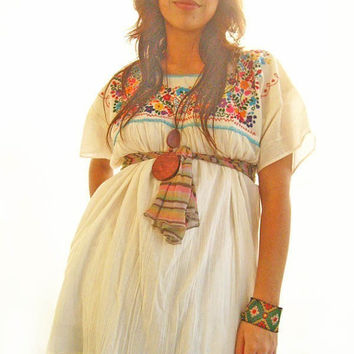 Mexican Hippie Butterfly vtg mini tunic top dress beautiful embroidered