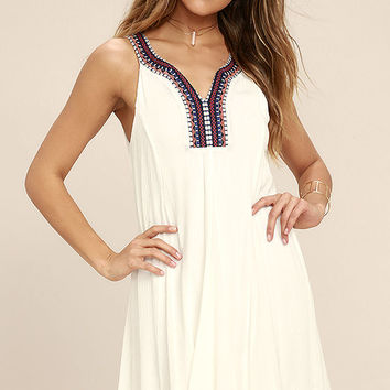 Others Follow Breezier Said Than Done White Embroidered Dress