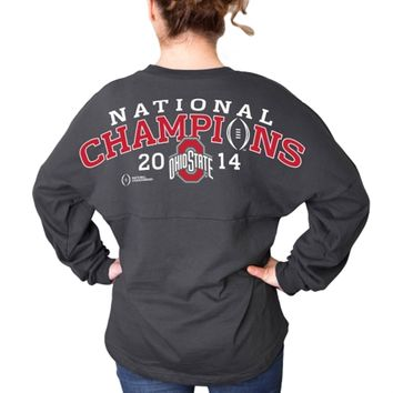 Ohio State Buckeyes Women's Charcoal 2014 College Football Playoff National Champions Long Sleeve Jersey Top