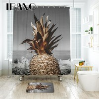 IBANO Pineapple 3D Shower Curtain Waterproof Polyester Fabric Bath Curtain For The Bathroom Decoration