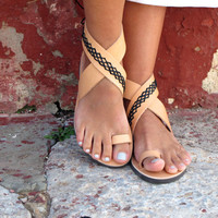 Greek Leather Sandals, in Six Colors. Thalia 04 NEW