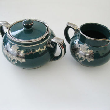 Windsor Art Ware Gibson & Sons Green and Silver Creamer and Sugar Bowl with Lid Circa 1912 - FL