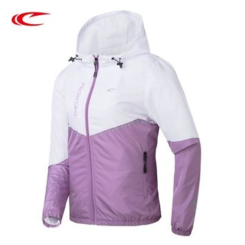 SAIQI Women's Softhell Jackets Outdoor Sport Long Sleeve Hooded Hiking Windproof Female Spell Colour Jacket 218550