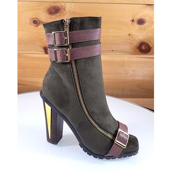 "Luichiny For Real Army Green Brown 5"" High Heel Platform Ankle Boot"