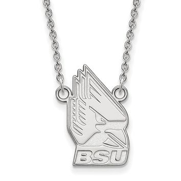 NCAA 14k White Gold Ball State Large Pendant Necklace