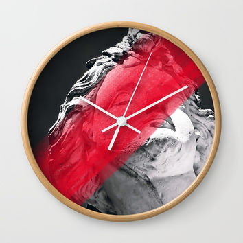 Face Me With Red #society6 #home #tech Wall Clock by cadinera