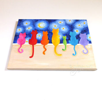 Rainbow Cats on a Wall #3, 14x11 inch acrylic canvas painting, colorful whimsical cat art