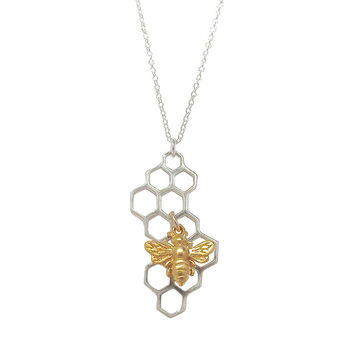 Honeycomb Necklace with Bee Charm