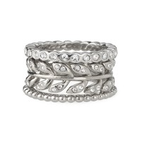 Silver & Cubic Zirconia Laurel Leaf Stackable Rings | Laurel Ring | Stella & Dot