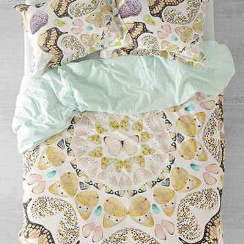 Plum & Bow Butterfly Print Duvet Cover- Pink Full/queen