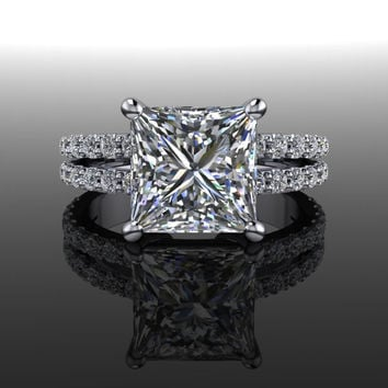 Forever Brilliant Moissanite and Diamond Princess Split Shank Engagement Ring 3.20 CTW