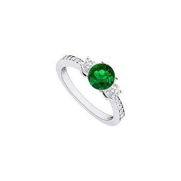 14K White Gold Emerald & Diamond Engagement Ring 1.00 CT TGW