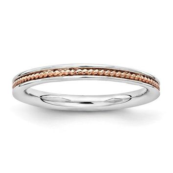 Sterling Silver Stackable Expressions Rose Gold Beaded Channel Ring