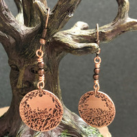 Textured Copper Earrings, Dangle Copper Earrings, Women's Earrings, Gift for her, Copper Earrings, Unique Earrings