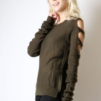 Fashion Cut Out Shoulder Light Knit Pullover Sweater Top