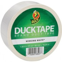 Duck Brand 1265015 Color Duct Tape, White, 1.88 Inches x 20 Yards, Single Roll