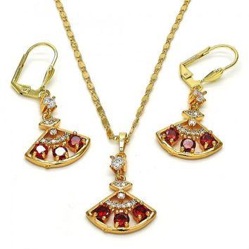 Gold Layered 10.236.0017 Necklace and Earring, with White and Garnet Cubic Zirconia, Polished Finish, Golden Tone