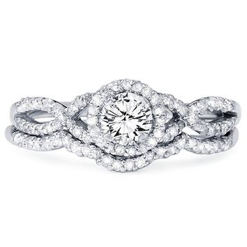 3/4ct Diamond Infinity Engagement Wedding Ring Set