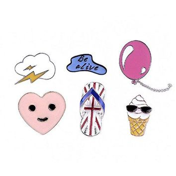 Fashion Cartoon Enamel Brooch Pins Set for Unisex Child Womens Clothing Decorate