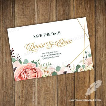 Geometric & Poppies Save The Date