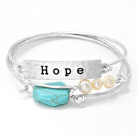 3-LAYERS Silver & Turquoise Stone Fresh Water Pearls Hope Inspirational Stack Layered Bracelet Bangles